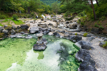 Outdoor hot spring pools, thermal pools in public park in Kusatsu, Japan