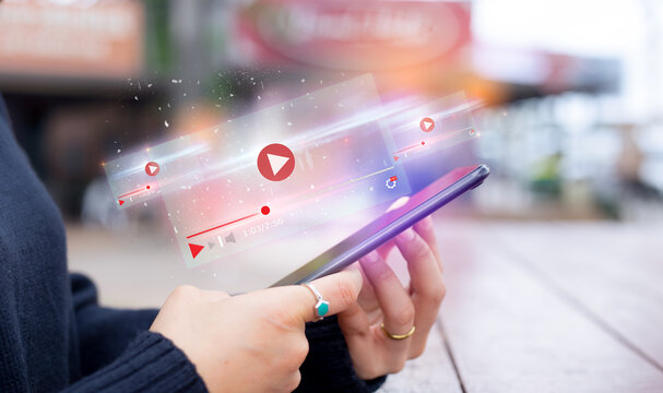 live video content online streaming marketing concept.close-up of Hands holding mobile phone
