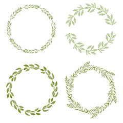 watercolor botanical hand drawing leafs wreath collection