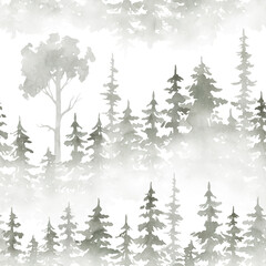 Watercolor seamless pattern with foggy forest. Evergreen fir trees. Hand drawn background with landscape. Natural, ecological, tourism and hiking theme