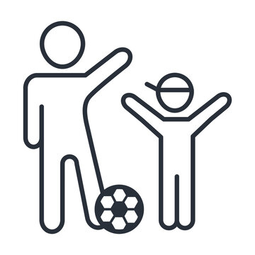 happy father and son playing with soccer ball, family day, icon in outline style