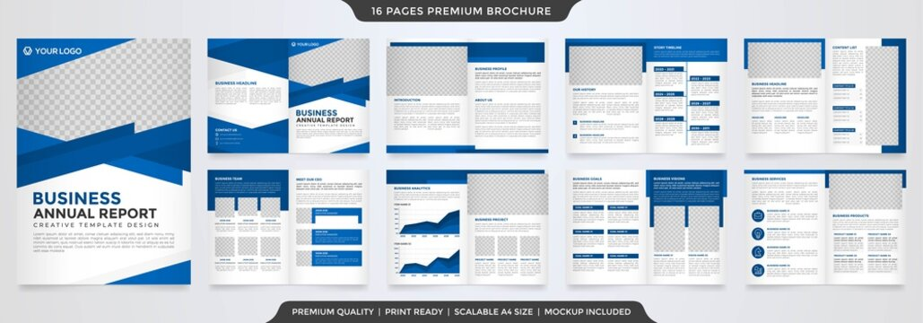 business bifold brochure template design with minimalist layout use for business profile and catalog