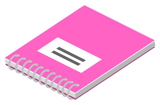 Blank vertical spiral notebook with pink cover isolated on white background. Opened notepad with clean sheets. Office supplies and colorful stationery isometric style vector illustration