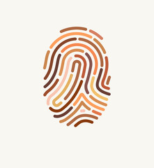 Fingerprint of many different skin tones. Illustration for diversity and unity. The concept of one human race. Poster design against racism.