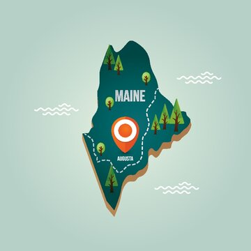 Maine map with capital city