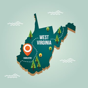 West virginia map with capital city