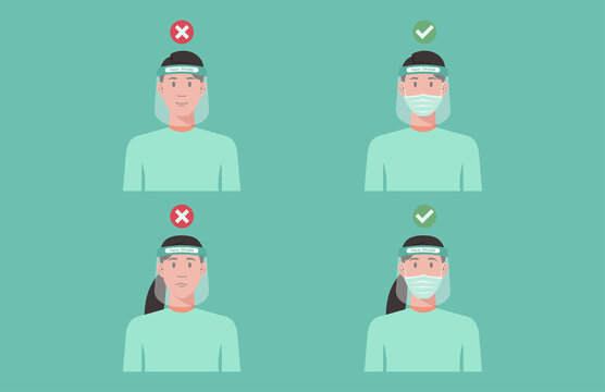 correct and wrong way to using protective medical face shield concept, man and woman wearing surgical mask inside to prevent COVID 19, virus protection, new normal, vector flat illustration