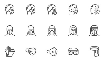 Personal Protective Equipment Vector Line Icons. PPE for Infection Control. Medical Protective Clothing, Gloves, Face Shield, Goggle, Facemask. Editable Stroke. 48x48 Pixel Perfect. Fotobehang