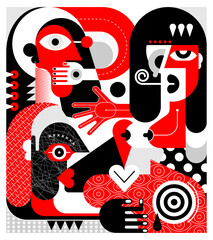 Red, black and white colors modern art portrait of a woman with bare breasts who shocking others, vector illustration.