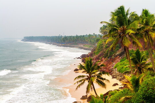 Cliff with Laccadive Sea and Varkala beach in Kerala, India