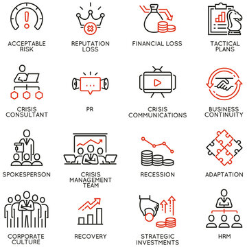 Vector Set of Linear Icons Related to Crisis Management, Recovery and Consolidation. Mono line pictograms and infographics design elements - part 2