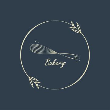 Bakery logo design. Bakery sign vector. Whisk logo design.