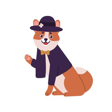 Smiling dog shiba inu breed wearing suit with bow and hat vector flat illustration. Friendly fashion domestic animal waving hand isolated on white background. Cute pet wearing stylish apparel