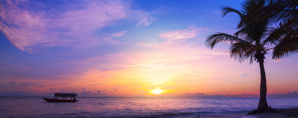 Art beautiful sunrise Landscape of paradise tropical island beach. Palm tree and fishing boat