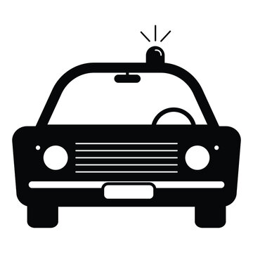 Police Cop Car Vintage with siren front view. Simple black and white illustration depicting police emergency response vehicle car with flash. EPS Vector