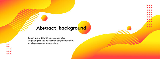 Liquid yellow abstract background. Vector long fluid banner for social media posts, presentations - fototapety na wymiar