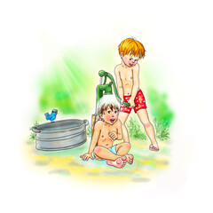 sommer Erfrischung an der Wasserpumpe, Jungs Freunde Abkühlung, Spiel im Garten, Natur Erlebnis, ausprobieren, genießen, kühle, Freude, freuen, barfuß, naß, spritzen, Strahl, Ferien, Urlaub, Kinder