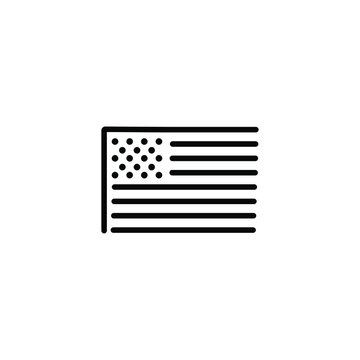 USA flag thin icon in trendy flat style isolated on white background. Symbol for your web site design, logo, app, UI. Vector illustration, EPS