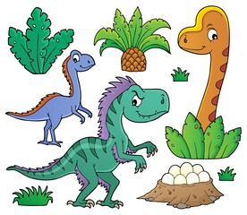 Foto op Canvas Voor kinderen Dinosaurs and prehistoric nature theme set 1