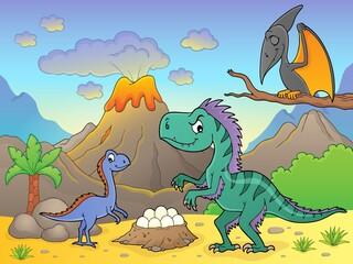 Photo sur Aluminium Enfants Dinosaurs near volcano image 2