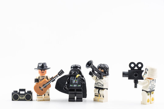 Bangkok, Thailand - April, 16, 2020 :  Lego star wars stormtrooper Musicians playing music isolated on white background.