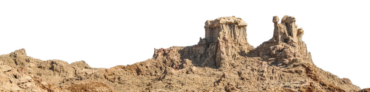 Rock formation in a desert isolated on white background