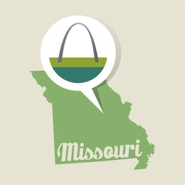 Missouri map with st.louis gateway arch icon