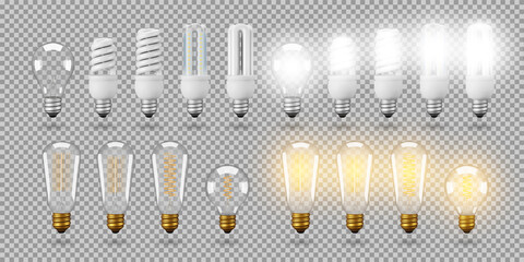 Isolated energy saving light bulb, vector object on a transparent background, the effect of light and glow. Realistic 3d object, symbol of creativity and ideas. Concept for business or startup.