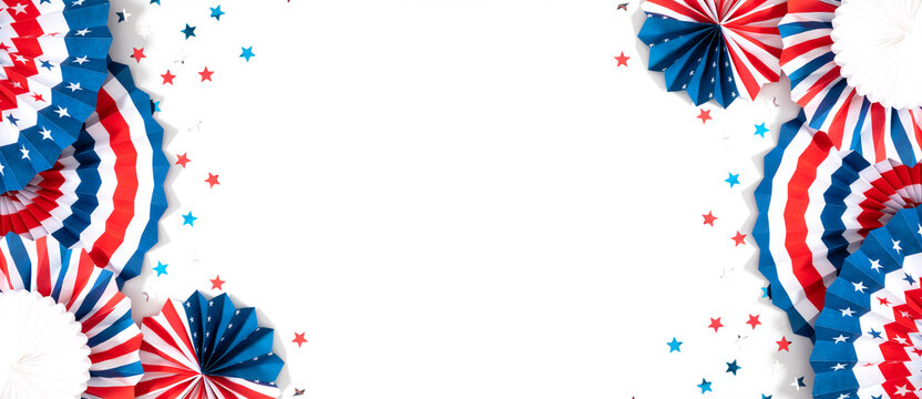 4th of July American Independence Day. Happy Independence Day. Red, blue and white star confetti, paper decorations on white background. Flat lay, top view, copy space, banner