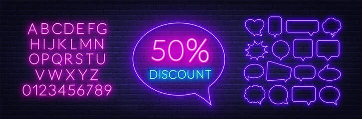 Fototapete - 50 percent discount neon sign. Template for a design with speech bubble frames. Neon alphabet on brick wall background.