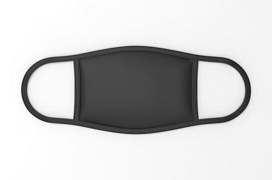 Reusable cotton cloth face respirator mask for mock up and print design presentation. 3d render  illustration.