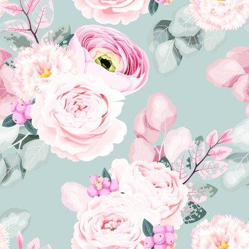 Seamless vector pattern with pastel vintage flower