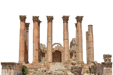 Temple of Artemis (Jerash, Jordan) isolated on white background. It was was a Roman temple.