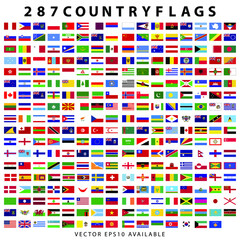 285 plus world country flags. country flags flat icon collection with vector file.