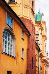 Antique building view in Old Town Warsaw, Poland