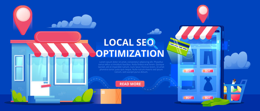 Local Search engine optimization for phone app, banner, Store with geo pin. Vector flat illustration.