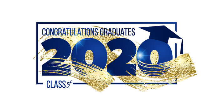 vector illustration of a graduating class of 2020. graphics elements for t-shirts, and the idea for the sign or badge