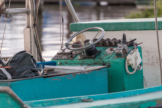 Close up of interior of shrimping boat docked on shore of bayou in southern Louisiana