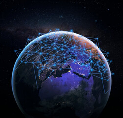 Global network over blue planet earth in space. Concept of worldwide wireless exchange of information and digital connection.