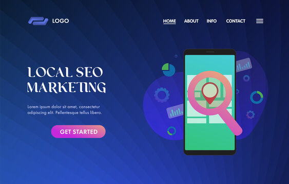 Local SEO Marketing UI UX vector web template for website header, banner, slider or landing page. Search Engine Optimization results based on client GPS geo-positioning and regional.