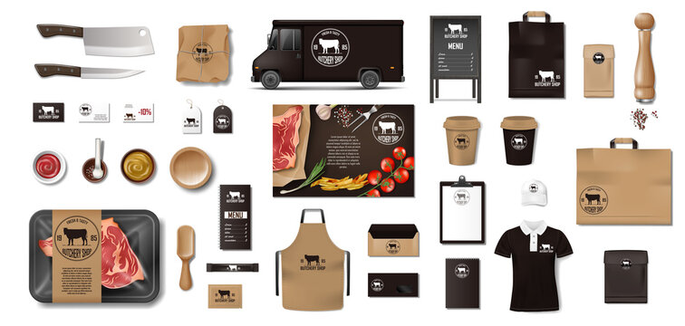 Variety of food in the butcher shop. Restaurant Brand Identity mockup set. Branding packaging elements meat, steak, uniform, menu, delivery van, knife, supermarket food in pack. Vector
