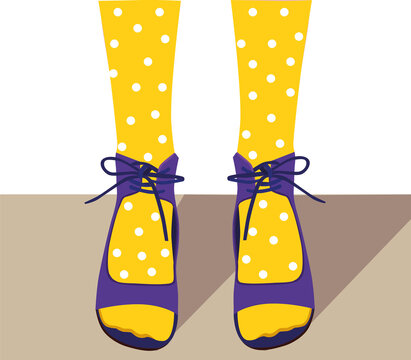 Legs in yellow tights on a white background