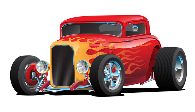 Classic Red Custom Street Rod Car with Hotrod Flames and Chrome Rims Isolated Vector Illustration