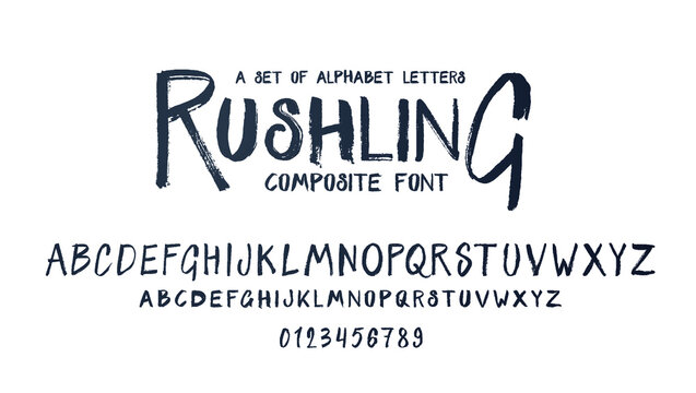 vector composite font. grunge alphabet set. lowercase and uppercase letters as well as numbering from 0-9. Perfect for brutal hipster parties and grunge advertising. Composite Font