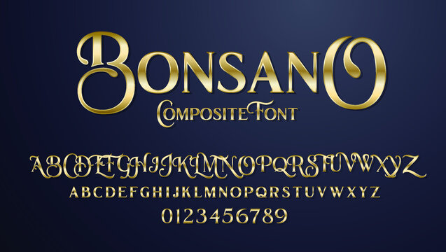vector composite font Bonsano. elegant serif alphabet set. lowercase and uppercase letters as well as numbering from 0-9. Great for a luxury party and expensive advertising. Composite Font