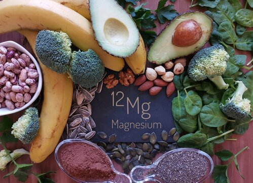 Foods rich in magnesium with the chemical symbol Mg for the chemical element magnesium. Natural sources of magnesium: avocado, nuts, broccoli, banana, cacao, chia, sunflower seed, spinach, beans.