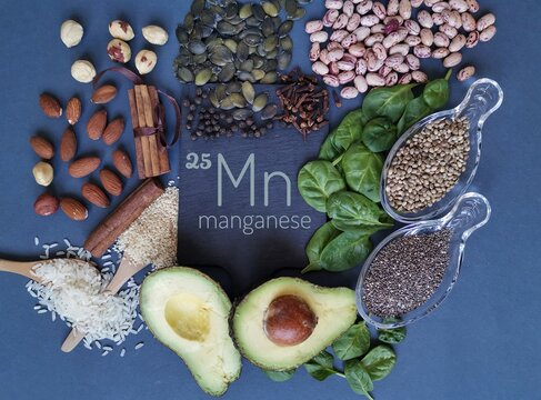 Foods rich in manganese with the chemical symbol Mn for the chemical element manganese. Natural sources of manganese: avocado, chia, cloves, cinnamon, peppercorn, spinach, beans, sesame, rice, nuts.