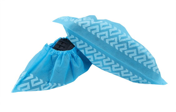 disposable anti-skid  shoe cover is manufactured with 100% non-linting, non-woven spunbond polypropylene fabric with stitched seams and sprayed latex anti-skid treads on the bottom for safety.