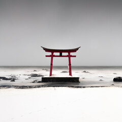 japanese temple in the sea