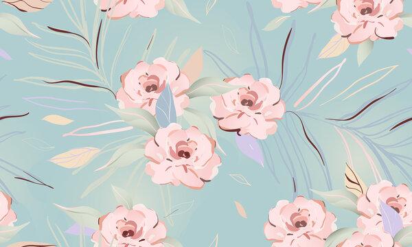 Feminine floral seamless pattern. Fashionable template for design. Soft color palette.